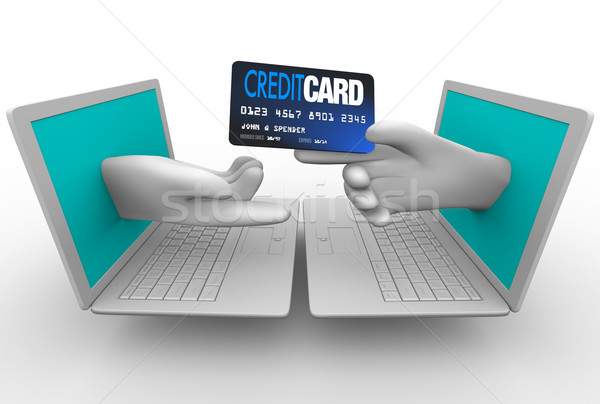 Online zakupu karty kredytowej laptopy strony zakup Zdjęcia stock © iqoncept