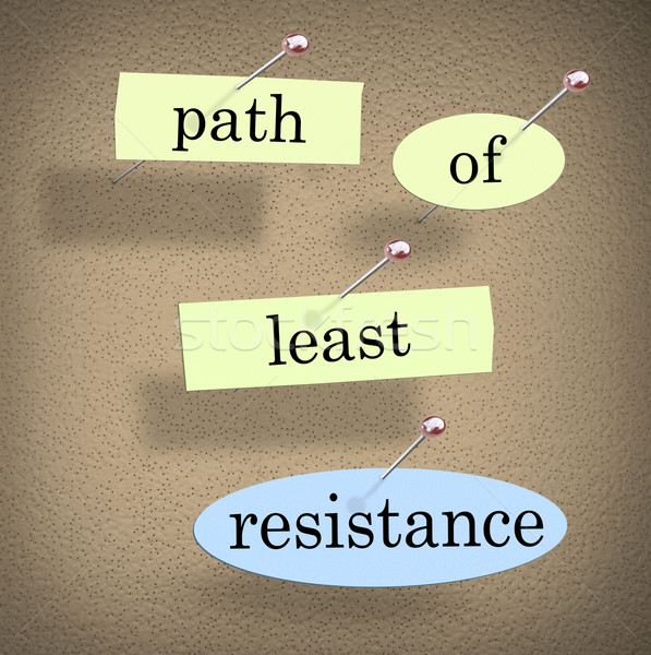 Path of Least Resistance Words Saying Quote Bulletin Board Stock photo © iqoncept