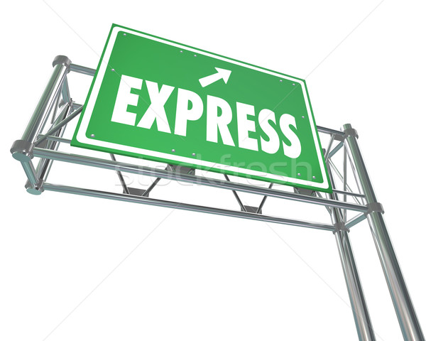 Express Fast Speedy Service Traffic Travel Freeway Green Road Si Stock photo © iqoncept