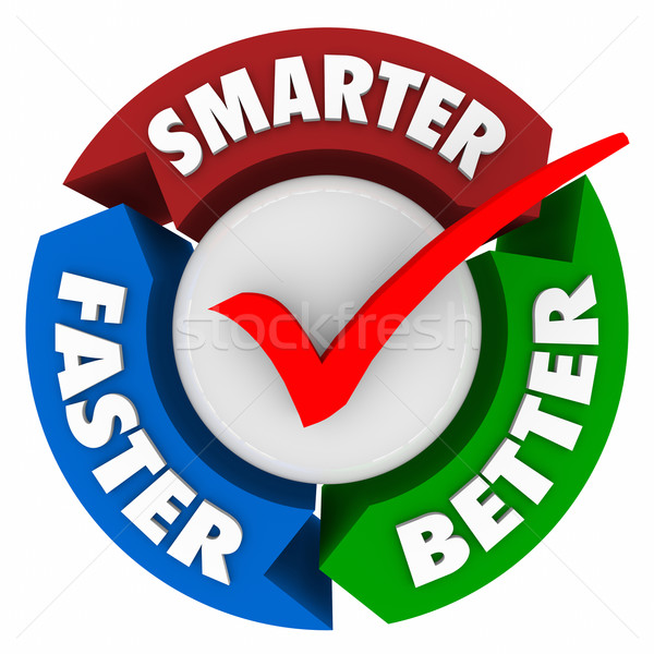 Smarter Faster Better Words Perfect Choice Check Mark Circle Stock photo © iqoncept