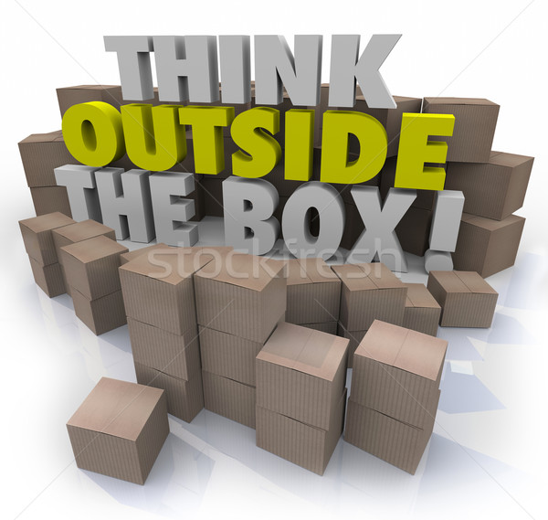 Think Outside the Box Cardboard Boxes Original Thinking Stock photo © iqoncept