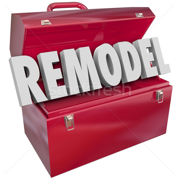 Remodel Red Metal Toolbox Building Construction Improvement Proj Stock photo © iqoncept