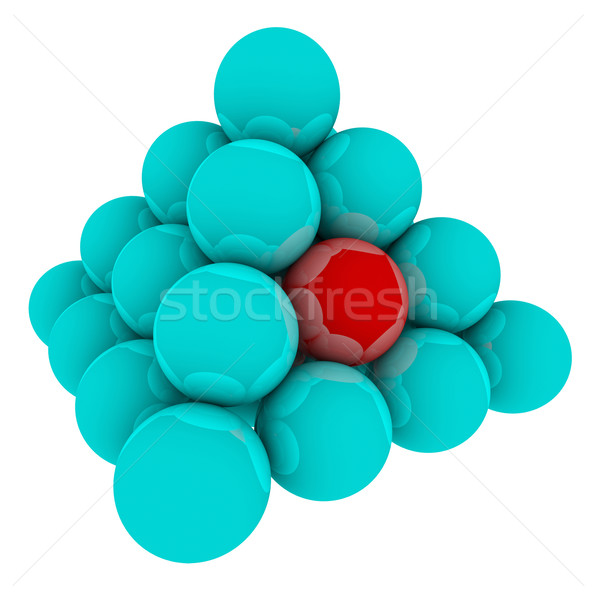 Red Ball in Blue Sphere Pyramid Stack Stock photo © iqoncept
