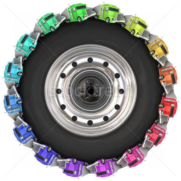 Trucks Driving Around Tire Wheel Over Road Trucking Stock photo © iqoncept