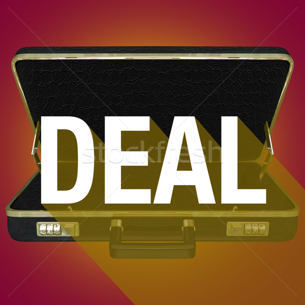 Deal Briefcase Word Long Shadow Contract Customer Agreement Stock photo © iqoncept