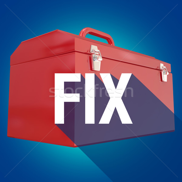 Fix Toolbox Repair Long Shadow Word Mechanic DIY Project Stock photo © iqoncept