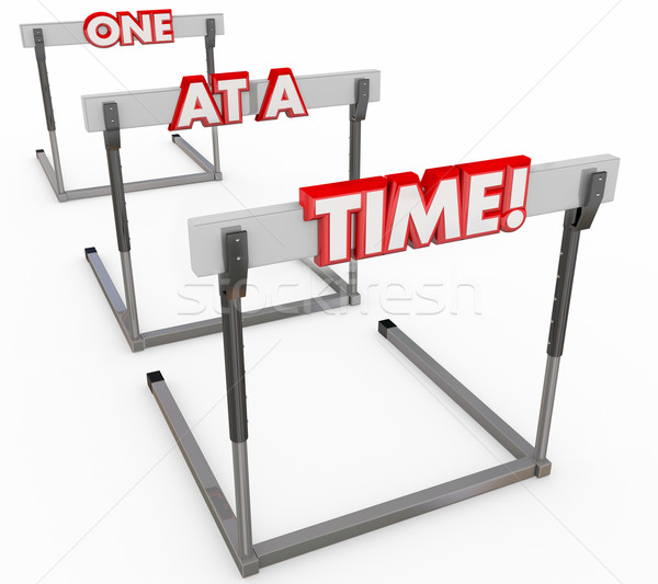 One at a Time Three Hurdles Series Challenges Obstacles  Stock photo © iqoncept