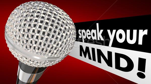 Beszéd elme mikrofon szavak animáció megbeszél Stock fotó © iqoncept