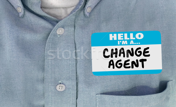 Stock photo: Hello I am Change Agent Disruptor Name Tag Words 3d Illustration