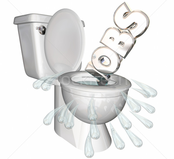 Jobs Cut Recession Downsizing Flush Toilet 3d Illustration Stock photo © iqoncept