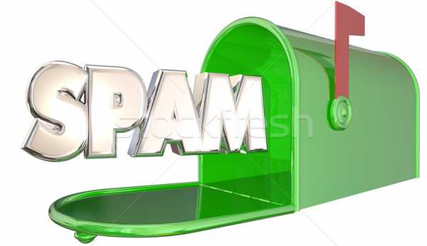 Spam Unsolicited Email Inbox Mailbox Word 3d Illustration Stock photo © iqoncept