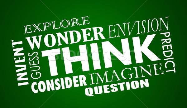 Düşünmek çözmek kelime kolaj örnek Stok fotoğraf © iqoncept