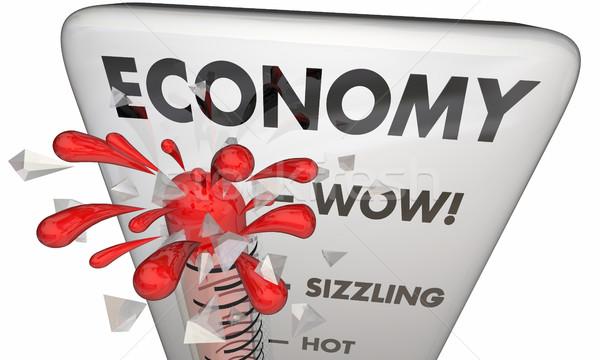 Gospodarki finansowych rynki termometr 3d ilustracji Zdjęcia stock © iqoncept