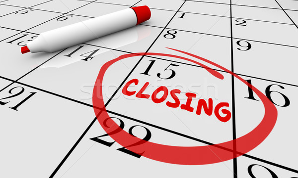 Closing Day Date Calendar Word Circled Close 3d Illustration Stock photo © iqoncept