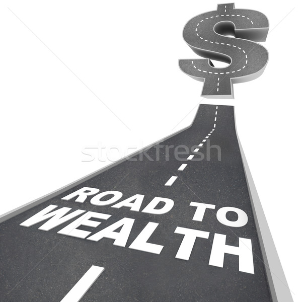 Stock photo: Road to Wealth - Words on Street