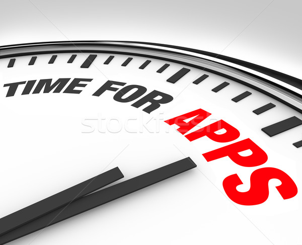 Time for Apps Clock Need to Program Mobile Applications Stock photo © iqoncept