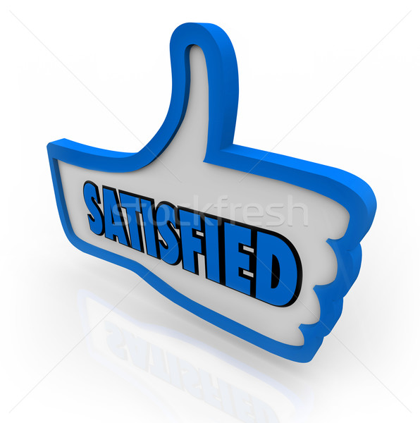 Satisfied Word on Blue Thumb Pleased Thumbs Up Stock photo © iqoncept