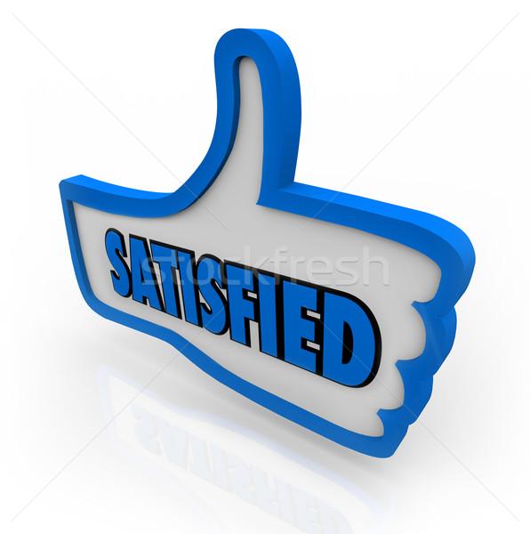 Zadowolony słowo niebieski kciuk zadowolony Zdjęcia stock © iqoncept