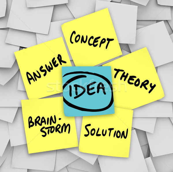 Idea Words Yellow Sticky Notes Brainstorm Solution Stock photo © iqoncept