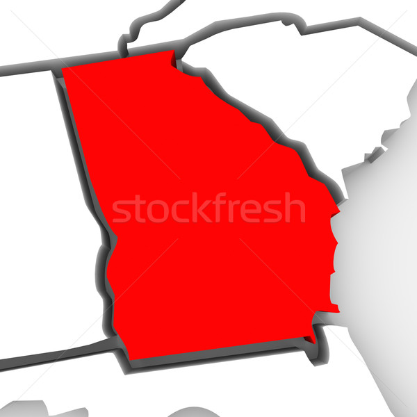 Georgia Red Abstract 3D State Map United States America Stock photo © iqoncept
