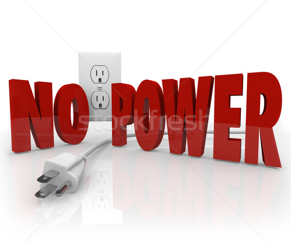 No Power Words Electrical Cord Outlet Electricity Outage Stock photo © iqoncept