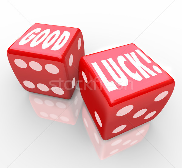 Stock photo: Good Luck Red Dice Words Favorable Fortune