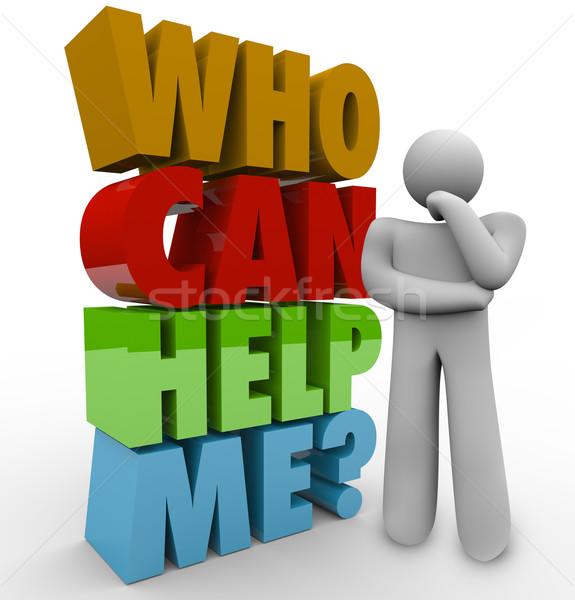 Puszka pomoc mnie myśliciel człowiek obsługa klienta Zdjęcia stock © iqoncept