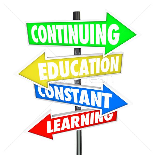 ストックフォト: 教育 · 学習 · 通り · 標識 · 単語 · 4