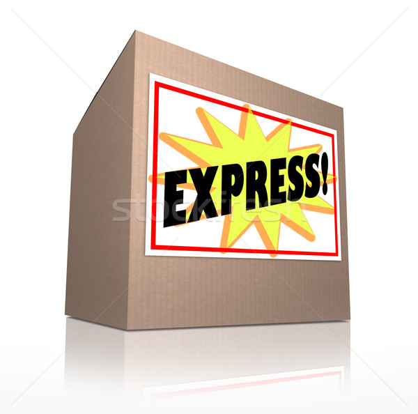 Express Fast Special Delivery Rush Shipment Cardboard Box Stock photo © iqoncept