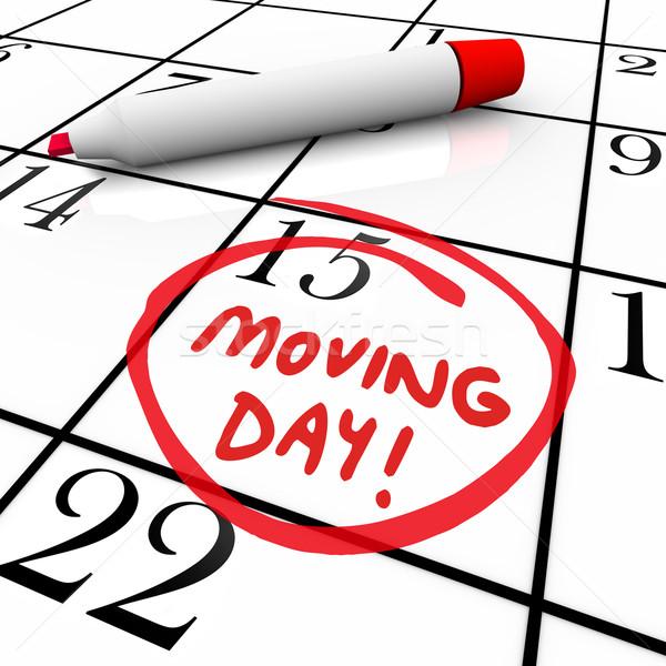 Jour du déménagement calendrier importante date rappel mots Photo stock © iqoncept