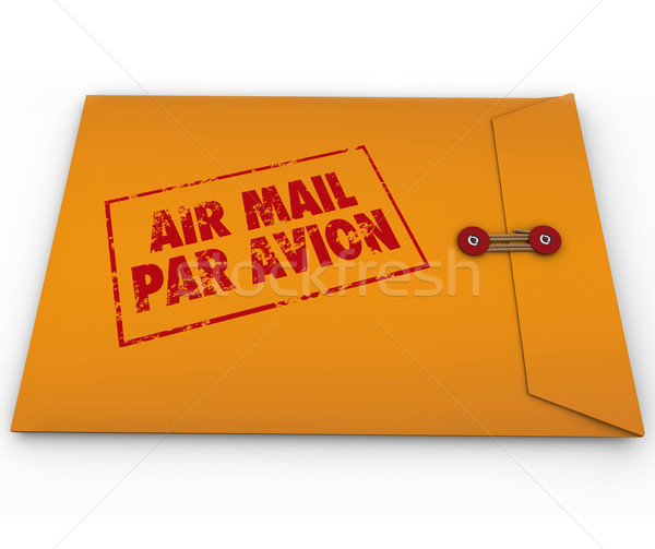 Citromsárga boríték légiposta bélyeg expressz szállítás levegő Stock fotó © iqoncept