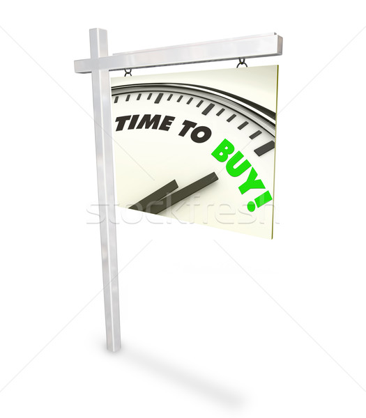 Stock photo: Time to Buy Clock - Home for Sale Sign