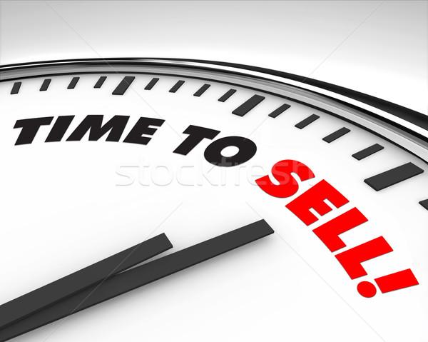 Tempo vender relógio branco palavras fundo Foto stock © iqoncept