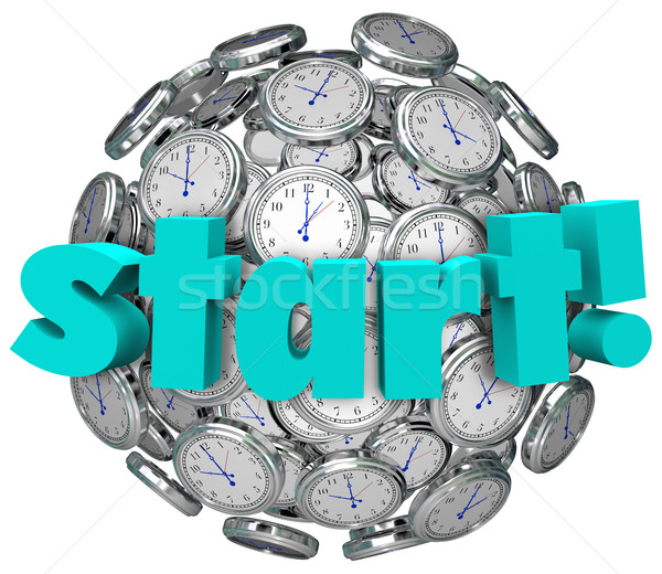 Start Word Clocks Time Begin Game or Challenge Stock photo © iqoncept