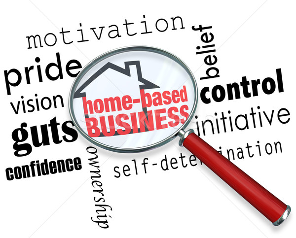 Home Based Business Magnifying Glass Searching Information Self  Stock photo © iqoncept