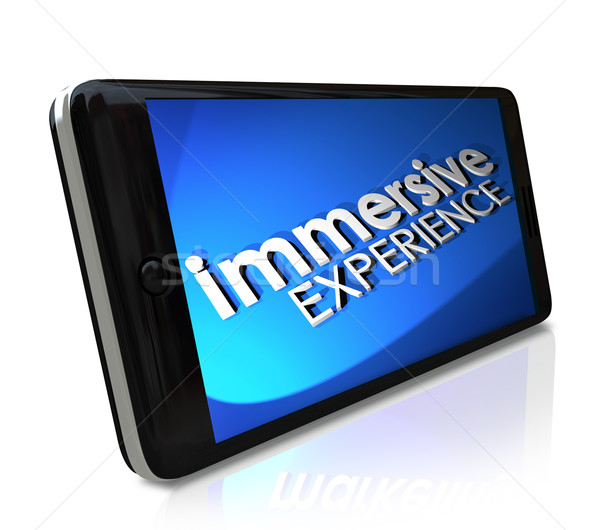 Immersive Experience Words Smart Phone Display Screen Stock photo © iqoncept
