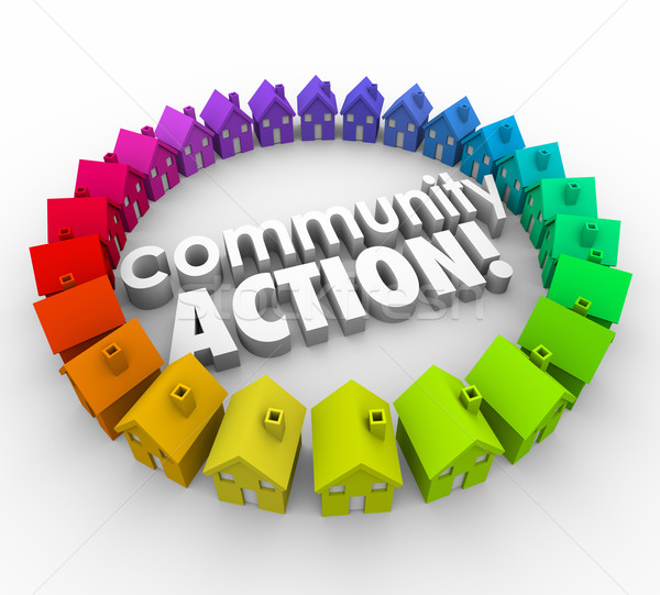 Stock photo: Community Action Words Neighborhood Homes Coalition Group
