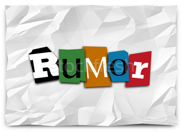 Rumor Cut Out Letters Ransom Note Gossip Lies Misinformation Spr Stock photo © iqoncept
