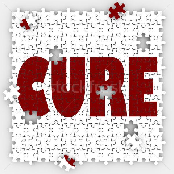 Cure Word Puzzle Piece Hole Medicine Treatment Healing Research Stock photo © iqoncept
