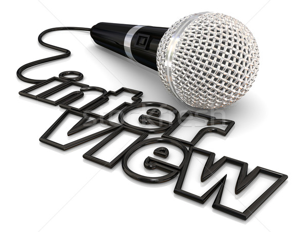 Interview Microphone Cord Wire Word Radio Podcast Discussion Stock photo © iqoncept