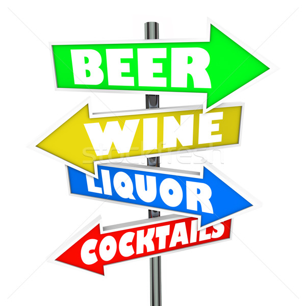 Beer Wine Liquor Cocktails Alcohol Signs Bar Nightclub Store Mar Stock photo © iqoncept