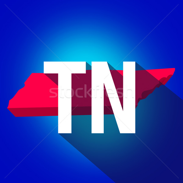 Tennessee TN Letters Abbreviation Red 3d State Map Long Shadow Stock photo © iqoncept