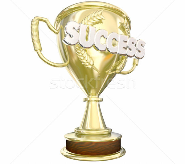 Success Trophy Achieve Goal Win Award Word 3d Illustration Stock photo © iqoncept