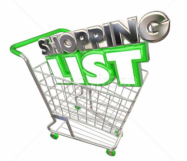 Shopping List Cart Buy Purchase Store Customer 3d Illustration Stock photo © iqoncept
