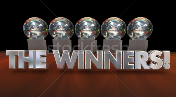 Gewinner Auszeichnungen Trophäen Wettbewerb Ankündigung 3D Stock foto © iqoncept
