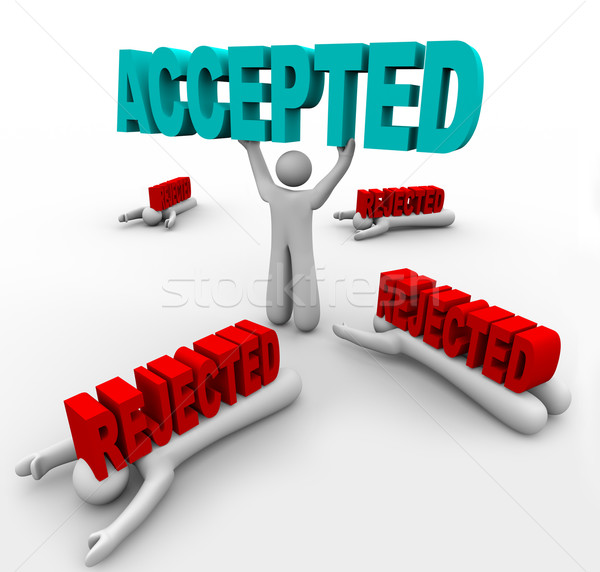 Accepted Person Lifts Word - Others Crushed by Rejection Stock photo © iqoncept