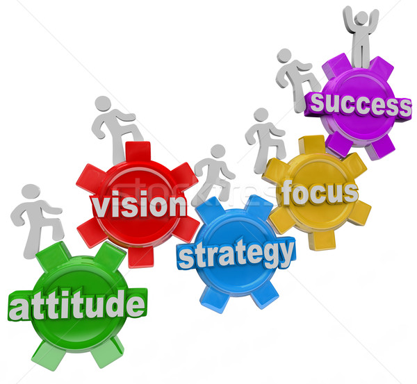 Vision Strategy Gears People Rise to Achieve Success Stock photo © iqoncept