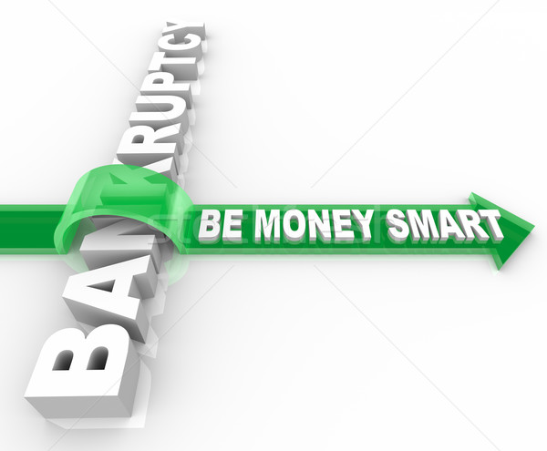 Csőd nyíl szó zöld szavak pénz Stock fotó © iqoncept