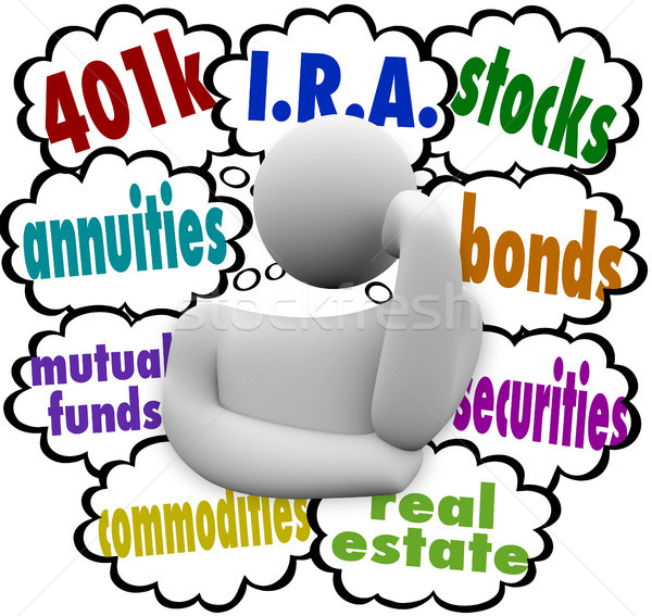 Investment Options Thinker Financial Planning Retirement Choices Stock photo © iqoncept