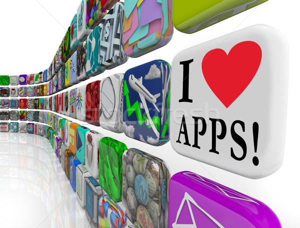 ストックフォト: 愛 · アプリ · 単語 · ソフトウェア · タイル · アイコン
